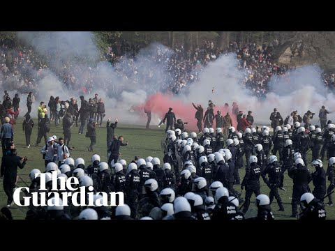 Riot police break up illegal party in Brussels park using tear gas and water cannon