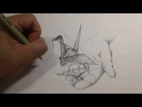 Origami of Hope - Quiet Determination and Heartfelt Prayer - Stippling Art - Collab with Macky@Piano