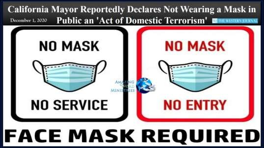 Not Wearing Mask Is Domestic Terrorism. Lockdown SUNday. Public Execution For Sharing The Bible