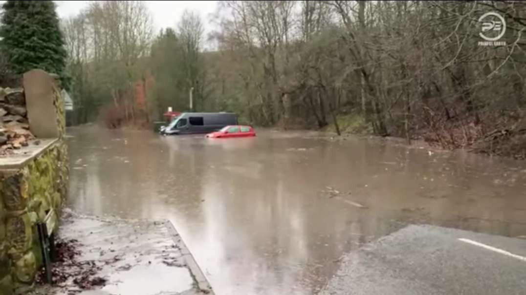 Rivers burst their banks- storm Christoph caused severe flooding in the UK.mp4