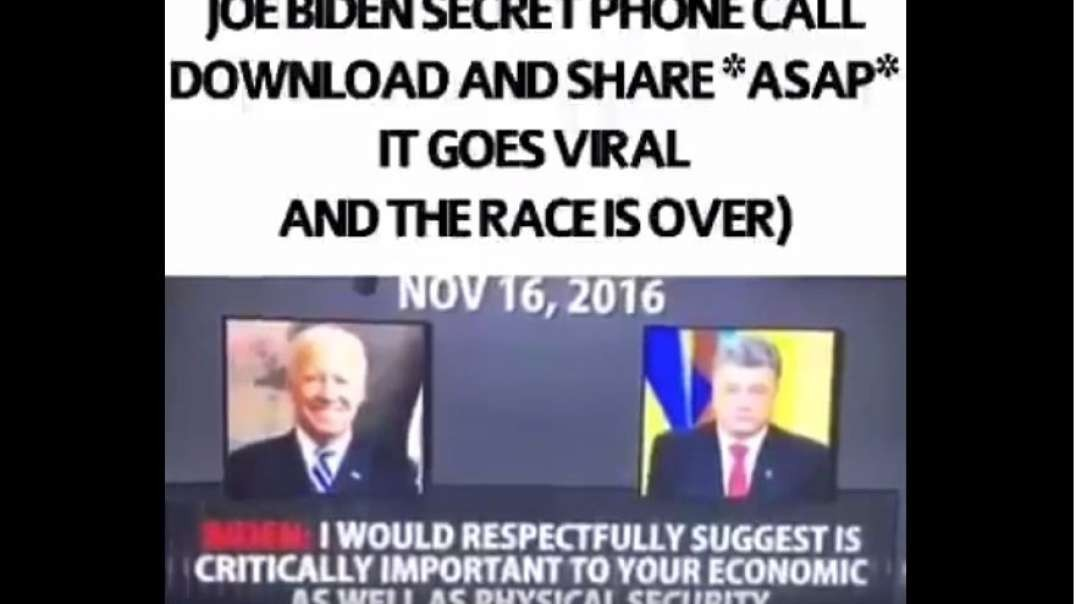 Corrupt Biden's secret Phone call! Share !